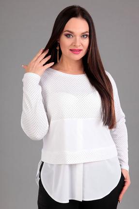 Купить Блузка Таир-Гранд 62293 белый, Блузки, 62293, белый, Состав ткани: хлопок - 21%, пэ – 76%, спандекс – 3%, Мультисезон