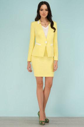 Купить Комплект юбочный Lady Secret 1522 лимон , Юбочные, 1522, лимон , Жакет и юбка: ПЭ 100% Топ: ПЭ 95%+Спандекс 5%, Лето