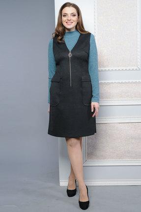 Купить Комплект плательный Lady Style Classic 1446 черный, Плательные, 1446, черный, Сарафан: ПЭ 62%+Вискоза 38% Джемпер: ПЭ 65%+Вискоза 31%+ПУ 4%, Мультисезон