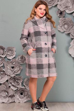 Купить Пальто Nadin-N 1447.1 серый+розовый, Пальто, 1447.1, серый+розовый, шерсть 80%, акрил 12%, пэ 8%, Мультисезон