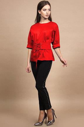 Купить Комплект брючный Alani 639 красный с черным, Брючные, 639, красный с черным, Блуза: ПЭ 65%+Вискоза 30%+Спандекс 5% Брюки: ПЭ 96%+Спандекс 4%, Мультисезон