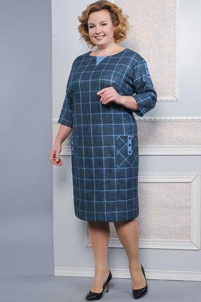 Купить Платье Lady Style Classic 1158 сине-голубые тона, Платья, 1158, сине-голубые тона, ПЭ 63%+Вискоза 35%+ПУ 2%, Мультисезон