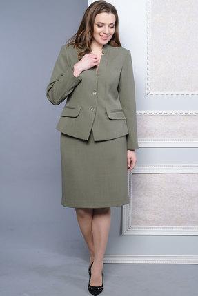 Купить Комплект юбочный Lady Style Classic 1163 хаки, Юбочные, 1163, хаки, Жакет и юбка: ПЭ 77%+Вискоза 18%+ПУ 5% Подкладка: ПЭ 100%, Мультисезон