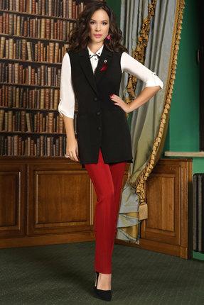 Купить Комплект брючный Lissana 3362 красный с черным, Брючные, 3362, красный с черным, Брюки и жилет: Вискоза 65%+ПЭ 32%+Спандекс 3% Блузка: Жоржет , Мультисезон