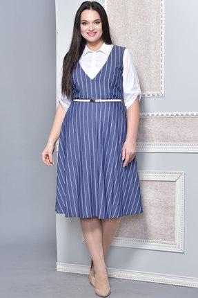 Купить Комплект плательный Lady Style Classic 1326 голубой, Плательные, 1326, голубой, Блуза: Хлопок 65%+Нейлон 31%+ПУ 4% Сарафан: Вискоза 72%+ПЭ 25%+ПУ 3%, Мультисезон