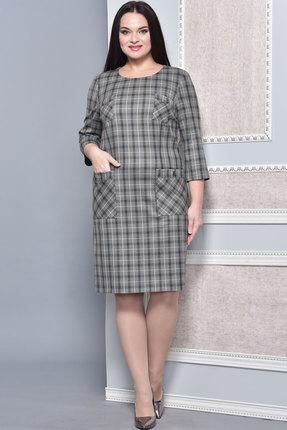 Купить Платье Lady Style Classic 1513 серая клетка , Платья, 1513, серая клетка , ПЭ 65%+Вискоза 32%+ПУ 3%, Мультисезон
