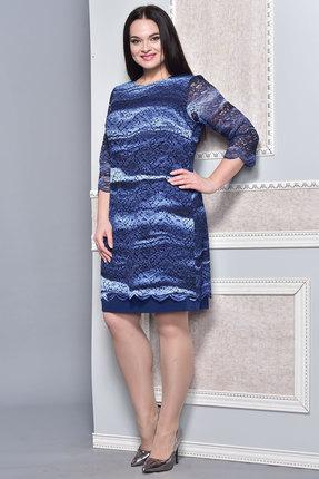 Купить Платье Lady Style Classic 1493 синие тона, Платья, 1493, синие тона, ПЭ 71%+Вискоза 23%+ПУ 6% Нижнее платье: ПЭ 100%, Мультисезон
