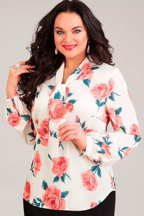 Блузка Асолия 4019 белый+розы, Блузки, 4019, белый+розы, ПЭ - 95%, Спандекс - 5%, Мультисезон  - купить со скидкой