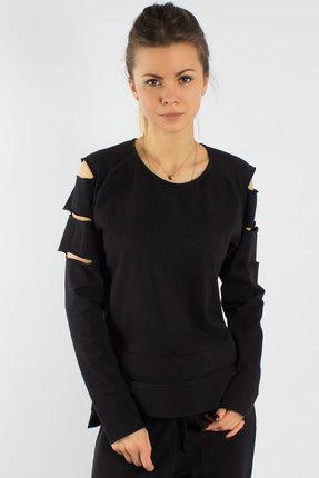 Женская черная хлопковая спортивная кофта из трикотажа