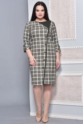 Купить Платье Lady Style Classic 1141 серо-зеленая клетка, Платья, 1141, серо-зеленая клетка, ПЭ 63%+Вискоза 35%+ПУ 2%, Мультисезон