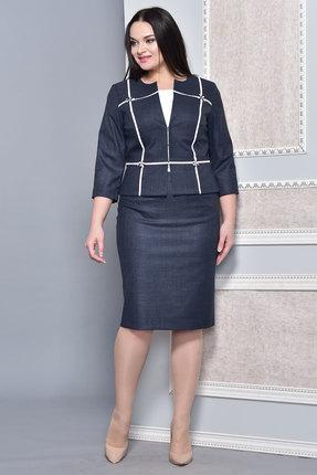 Купить Комплект юбочный Lady Style Classic 1401 темно-синий, Юбочные, 1401, темно-синий, Жакет и юбка: ПЭ 34%+Вискоза 63%+ПУ 3% Подкладка: ПЭ 100% Блуза: ПЭ 61%+Вискоза 33%+ПУ 6%, Мультисезон