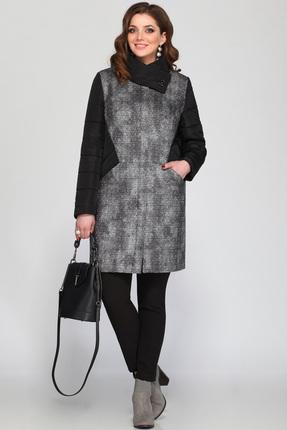 Купить Пальто Matini 21126 черный с серым, Пальто, 21126, черный с серым, Пальто - 100% пэ, полочка из рогожки - 63% пэ, 28% шерсть, 9% эластан., Мультисезон