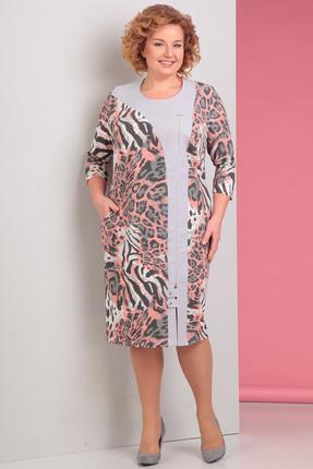 Купить Платье Новелла Шарм 2951 серо-розовые тона леопард , Платья, 2951, серо-розовые тона леопард , плательная ткань, Мультисезон