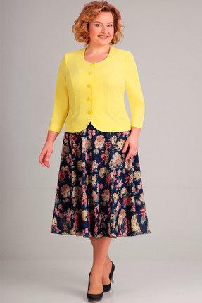 Купить Комплект юбочный Асолия 1122.7 жёлтый+синий, Юбочные, 1122.7, жёлтый+синий, Жакет: плательно-костюмная стрейчевая ткань Юбка: шифон Жакет: ПЭ - 86%, Спандекс - 14%; Юбка: ПЭ - 100%, Мультисезон