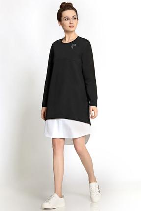 Купить Платье PIRS 326 черный с белым, Платья, 326, черный с белым, 49% хлопок 48% нейлон 3 % спандекс, 96% хлопок 4% эластан, Мультисезон