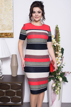 Купить Платье Solomeya Lux 423 полоски, Платья, 423, полоски, п/э-60%, вискоза-35%, эластан-5%, Мультисезон