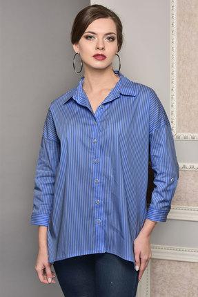 Купить Рубашка Lady Style Classic 1383 синий, Рубашки, 1383, синий, Хлопок 72%+ПЭ 25%+ПУ 3%, Мультисезон