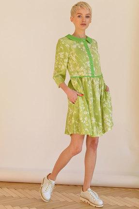 Платье ЮРС 17-684з зелено-салатовый, Платья, 17-684з, зелено-салатовый, лен - 70%, полиэстер - 30%, Мультисезон  - купить со скидкой