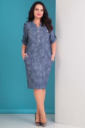 Купить Платье Тэнси 235 синие тона, Платья, 235, синие тона, п/э 70%, вискоза 26%, эластан 4%., Лето