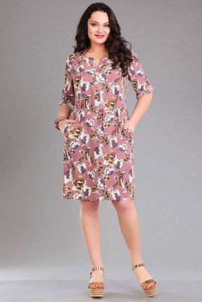 Купить Платье Ива 1007 розовый с цветами, Платья, 1007, розовый с цветами, плательная 70% п/э, 25% вискоза, 5% спандекс, Лето