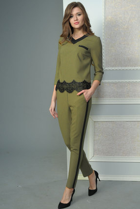 Купить Комплект брючный Lady Style Classic 1438 оливка, Брючные, 1438, оливка, ПЭ 65%+Вискоза 30%+ПУ 5%, Мультисезон