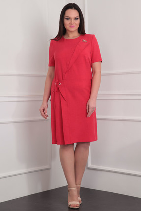 Купить Платье Milana 912 коралл, Платья, 912, коралл, Костюмно-плательная. Состав: вискоза-39%, ПЭ-44%, лён-17%., Мультисезон