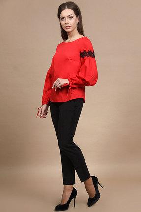 Купить Комплект брючный Alani 671 красный с черным, Брючные, 671, красный с черным, Блуза: Хлопок 98%+Эластан 2% Брюки: Фиона ПЭ 92%+Спандекс 8%, Мультисезон
