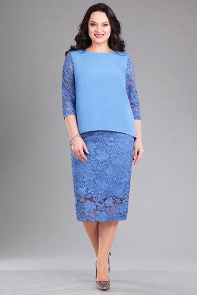 Купить Комплект юбочный Ива 996 голубой, Юбочные, 996, голубой, кружево 100% п/э плательная 70% п/э, 25% вискоза, 5% спандекс, Мультисезон