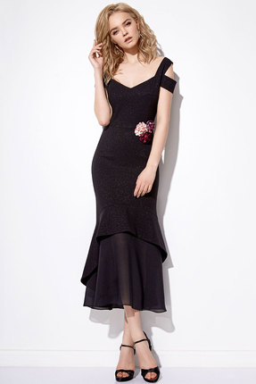 Купить Платье Anna Majewska 1090 черный, Платья, 1090, черный, ПЭ-40%, Вискоза-38%, Нейлон-20%, Спандекс-2%, Мультисезон