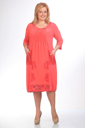 Купить Платье Pretty 201 коралл, Платья, 201, коралл, 95% полиэстр 5% спандекс, 100% полиэстр, Мультисезон