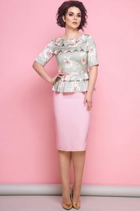 Купить Платье JeRusi 1827 зеленые тона с розовым, Платья, 1827, зеленые тона с розовым, Шелковый креп ПЭ 100% Низ платья: ПЭ 91%+Спандекс 9%, Мультисезон