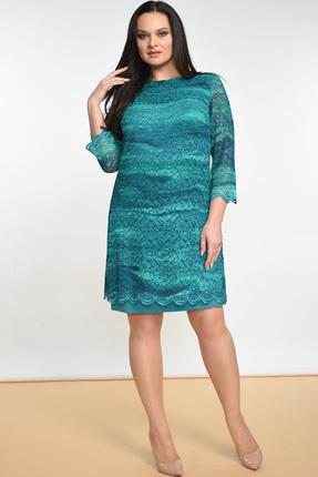 Купить Платье Lady Style Classic 1493 бирюзовые тона, Платья, 1493, бирюзовые тона, ПЭ 71%+Вискоза 23%+ПУ 6% Нижнее платье: ПЭ 100%, Мультисезон