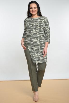 Купить Комплект брючный Lady Style Classic 1516 камуфляж, Брючные, 1516, камуфляж, Джемпер: Хлопок 50%+ПЭ 45%+ПУ 5% Брюки: ПЭ 74%+Вискоза 23%+ПУ 3%, Мультисезон