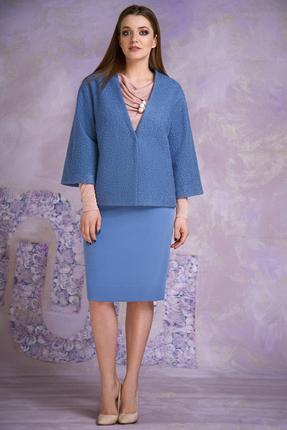 Купить Комплект юбочный Магия Моды 1283 голубой+розовый, Юбочные, 1283, голубой+розовый, Жакет: шерсть 60%, вискоза 20%, ПЭ 20%, блузон: 98% вискоза, 2% металлонить, юбка: вискоза 70%, ПЭ 26%, эластан 4%., Мультисезон
