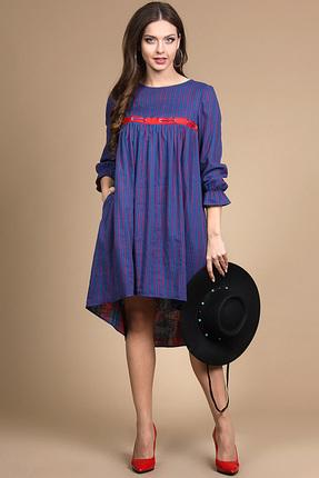 Купить Платье Alani 712 синие тона с красным, Платья, 712, синие тона с красным, Хлопок 98%+Эластан 2%, Лето