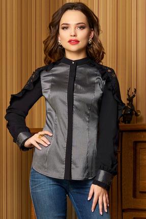Купить Блузка Lissana 3327 черный с серым, Блузки, 3327, черный с серым, ПЭ 95%+Спандекс 5%, Мультисезон