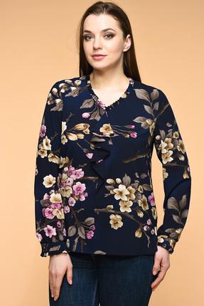 Купить Блузка Медея и К 1819 темно-синий цветы , Блузки, 1819, темно-синий цветы , Шёлк-шифон: 23, 4% вискоза, 70, 7% полиэстер, 5, 9% спандекс, Мультисезон