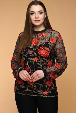 Купить Блузка Медея и К 1901 черный с красными цветами, Блузки, 1901, черный с красными цветами, 23, 4% вискоза, 70, 7% полиэстер, 5, 9% спандекс, Мультисезон