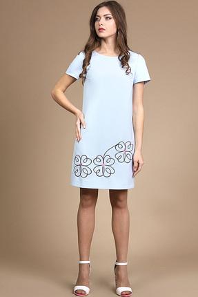 Платье Alani 729 светло-голубые тона, Платья, 729, светло-голубые тона, Фиона ПЭ 95%+Спандекс 5%, Лето  - купить со скидкой
