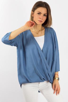 Блузка Mirolia 529 голубой джинс, Блузки, 529, голубой джинс, Вискоза 100%, Мультисезон  - купить со скидкой