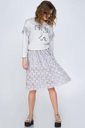 Купить со скидкой Комплект юбочный Denissa Fashion 1142 бело-серый