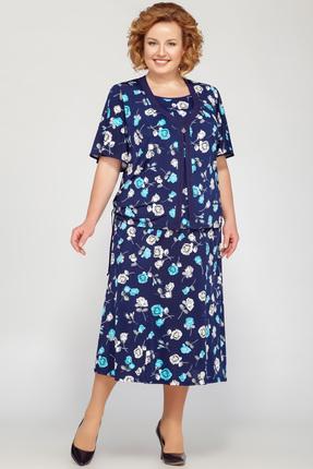 Комплект юбочный LaKona 1089 темно-синий с цветами