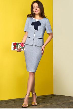 Купить Комплект юбочный Lissana 3388 серо-голубой, Юбочные, 3388, серо-голубой, Жакет+юбка: Хлопок 50%+ПЭ 45%+Эластан 5% Блузка: жоржет , Мультисезон