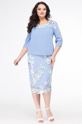 Купить Платье Erika Style 615 голубой, Платья, 615, голубой, Вискоза 72%, ПЭ 25%, спандекс 3%, Лето