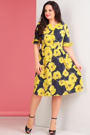 Платье Ксения Стиль 1509 желтые цветы