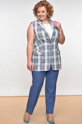 Купить Комплект брючный Lady Style Classic 950 серо-синие тона, Брючные, 950, серо-синие тона, Жилет: Лен 55%+Вискоза 45% Подкладка жакета: Хлопок 100% Брюки: ПЭ 73%+Вискоза 25%+ПУ 2%, Мультисезон