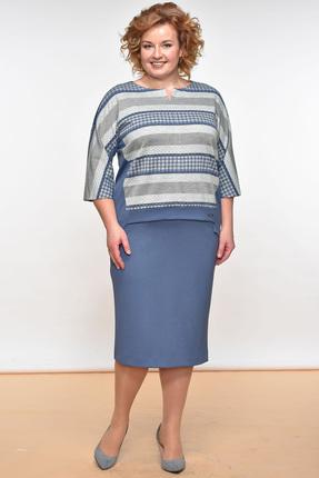 Купить Комплект юбочный Lady Style Classic 1374 голубой с серым, Юбочные, 1374, голубой с серым, Вискоза 64%+ПЭ 32%+ПУ 4%, Мультисезон