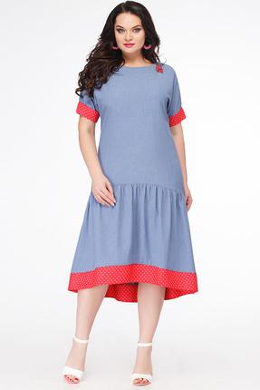 Купить Платье Erika Style 627 голубой, Платья, 627, голубой, вискоза 72%, ПЭ 25%, спандекс 3%, Лето