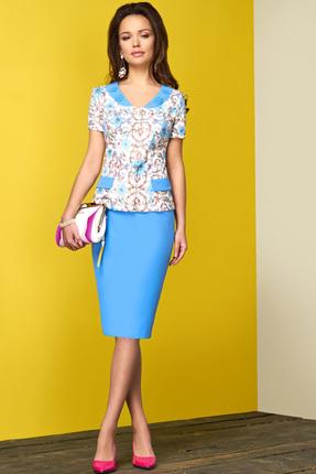 Купить Комплект юбочный Lissana 3108 голубой, Юбочные, 3108, голубой, Жакет: Хлопок 63%+ПЭ 34%+Эластан 3% Юбка: ПЭ 60%+Вискоза 37%+Спандекс 3%, Лето