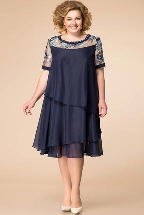 Купить Платье Romanovich style 1-1498 темно-синий, Платья, 1-1498, темно-синий, Шифон, кружево: 100% ПЭ, Лето